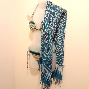 $5 Add-on Batik Style Sarong in Blue & White
